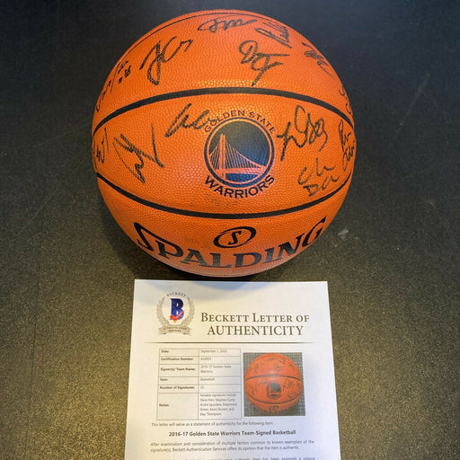2016-17 Golden State Warriors NBA Champs Team Signed Game Basketball Beckett COA