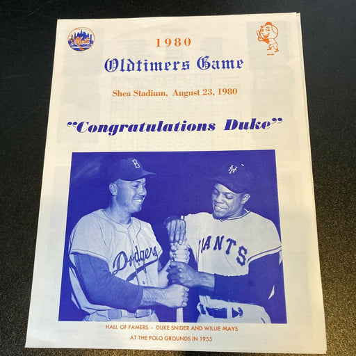1980 New York Mets Old Timers Game Original Program Willie Mays & Duke Snider