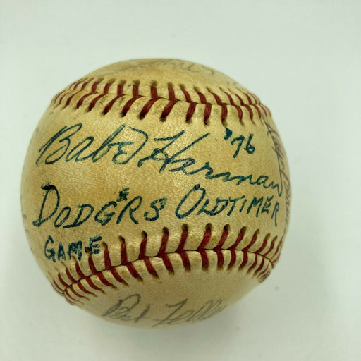 1976 Los Angeles Dodgers Old Timers Day Signed Baseball Babe Herman JSA COA