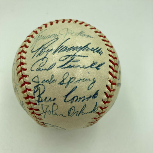 1957 Brooklyn Dodgers Team Signed Baseball Roy Campanella Cal Hubbard JSA COA
