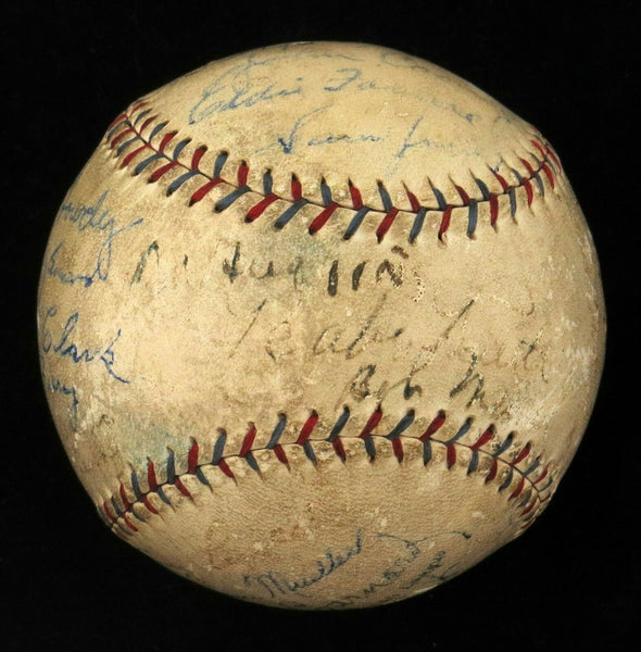 Babe Ruth Johnny Evers Miller Huggins 1929 Yankees Team Signed Baseball JSA COA