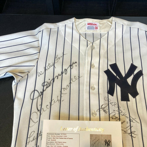 Mickey Mantle & Joe Dimaggio Yankees Hall Of Fame Legends Signed Jersey JSA COA