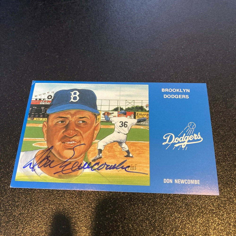 Don Newcombe Signed Autographed Vintage Brooklyn Dodgers Postcard