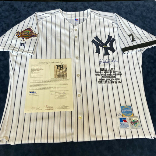 Beautiful Derek Jeter Rookie Signed Authentic 1996 World Series Jersey JSA COA
