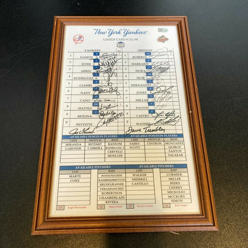 Derek Jeter Yankees Team Signed 2008 Yankee Stadium Final Game Lineup Card  JSA