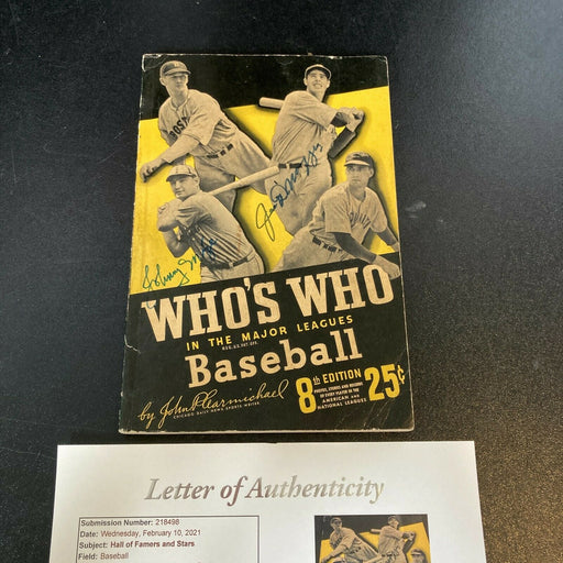 Joe Dimaggio Signed Autographed 1940's Who's Who In Baseball Book 13 Sig JSA COA