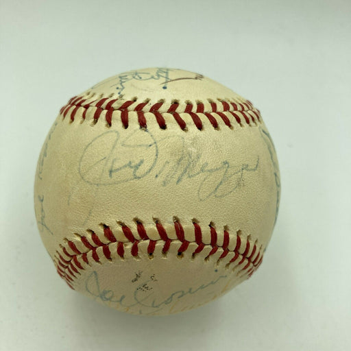 Joe Dimaggio Don Drysdale Joe Cronin Hall Of Fame Multi Signed Baseball JSA COA