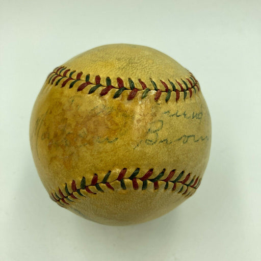 "Extraordinary Mordecai ""Three Finger"" Brown Single Signed 1920s Baseball JSA COA"