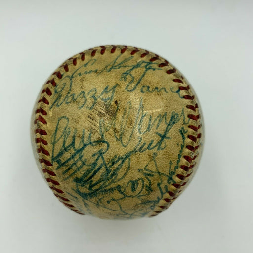 Ty Cobb Cy Young Jimmie Foxx Tris Speaker 1955 HOF Induction Signed Baseball JSA