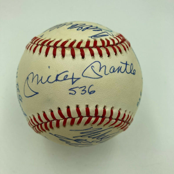 Extraordinary 500 Home Run Club Signed Baseball With HR Totals Mickey Mantle JSA