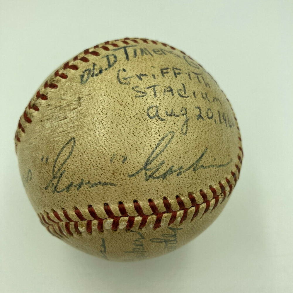 Frank Baker Sam Rice Goose Goslin Senators Old Timers Game Signed Baseball JSA