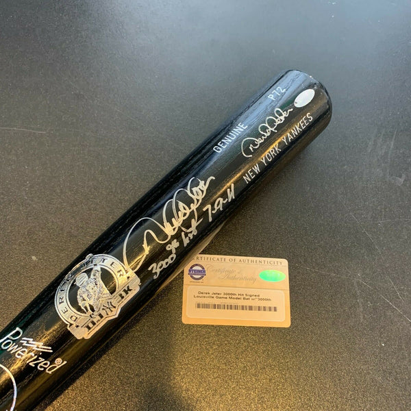 Beautiful Derek Jeter 3,000th Hit 7-9-11 Signed Inscribed Baseball Bat Steiner