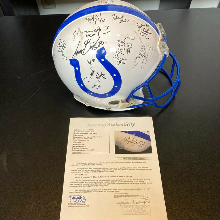1997 Indianapolis Colts Team Signed Authentic Game Issued Helmet With JSA COA