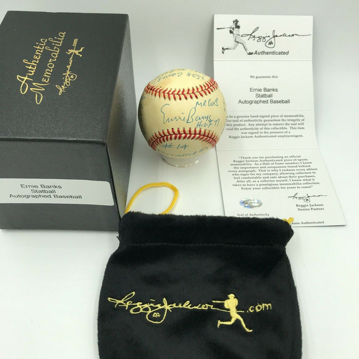 Beautiful Ernie Banks Signed Autographed Heavily Inscribed STAT Baseball RJ COA