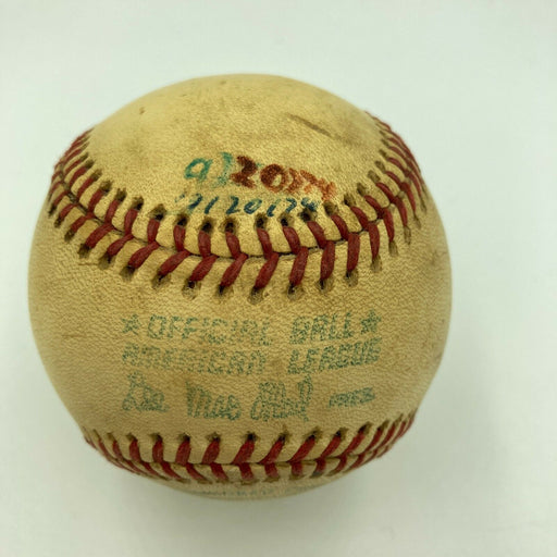 Hank Aaron HR Chase Milwaukee County Stadium Game Used Baseball From 9-20-1974