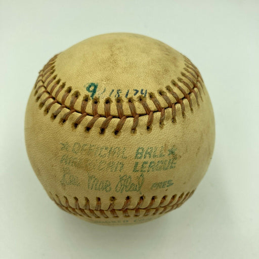 Hank Aaron HR Chase Milwaukee County Stadium Game Used Baseball From 9-18-1974