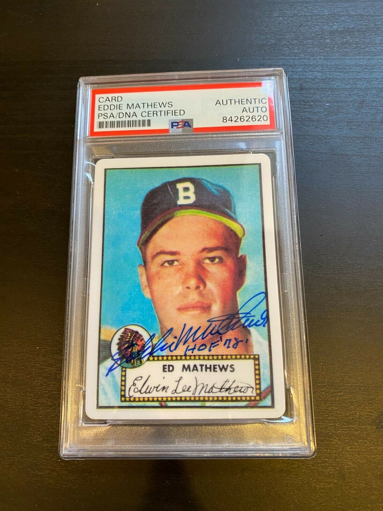 "1952 Topps Eddie Mathews RC Signed Porcelain Baseball Card PSA DNA ""HOF 1978"""