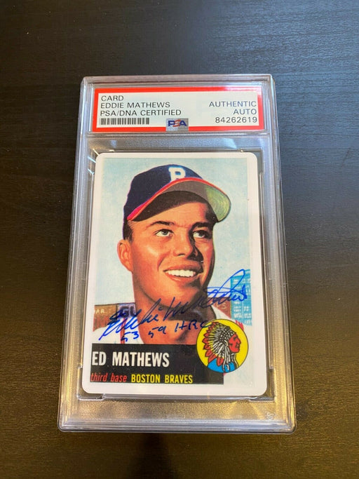 1953 Topps Eddie Mathews RC Signed Porcelain Baseball Card PSA DNA 1953 59 HR's