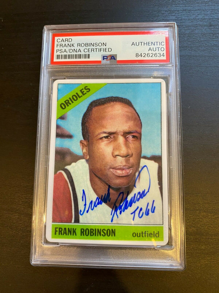 "1966 Topps Frank Robinson Signed Porcelain Baseball Card PSA DNA ""Triple Crown"""