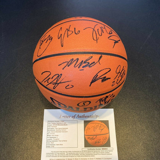2019-20 Milwaukee Bucks Team Signed Basketball Giannis Antetokounmpo JSA COA