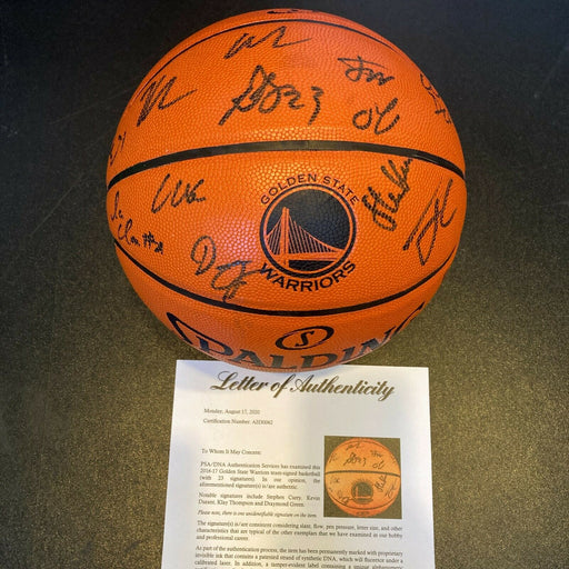 2016-17 Golden State Warriors NBA Champs Team Signed Game Basketball PSA DNA COA
