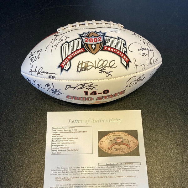 2002 Ohio State Buckeyes National Champions Team Signed Football With JSA COA