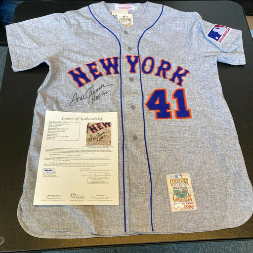 "Tom Seaver ""HOF 1992"" Signed Authentic New York Mets Mitchell & Ness Jersey JSA"