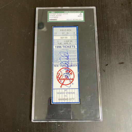 Derek Jeter First Opening Day Rookie Signed 1996 New York Yankees Ticket SGC