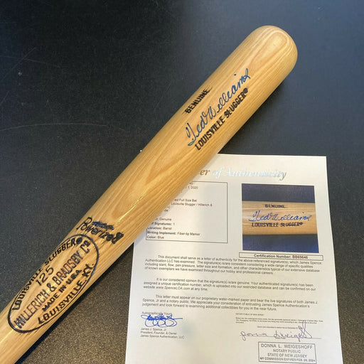 Ted Williams Signed Louisville Slugger Game Model Baseball Bat JSA COA