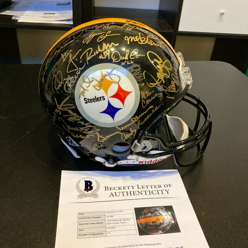 1970's Pittsburgh Steelers Super Bowl Champs Team Signed Game Helmet Beckett COA
