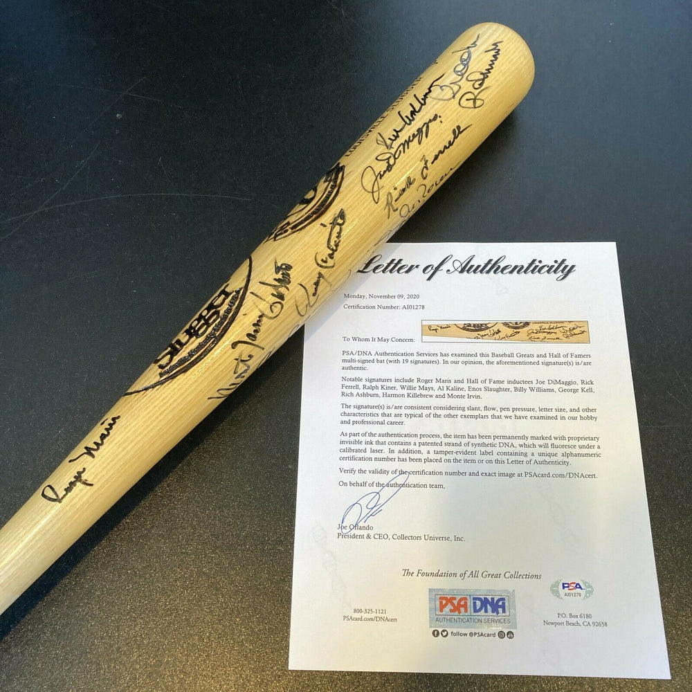 Roger Maris Joe Dimaggio Willie Mays Old Timers Day Signed Baseball Bat PSA DNA