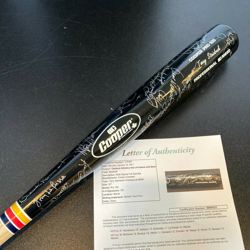 Oakland A's Legends Multi Signed Bat 35 Sigs Reggie Jackson Mark McGwire JSA COA