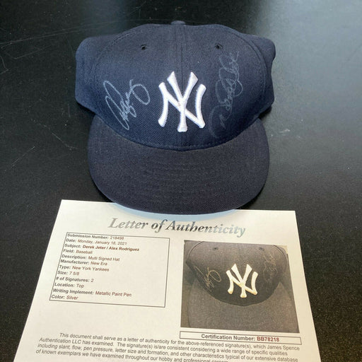 Derek Jeter & Alex Rodriguez Signed New York Yankees Game Model Hat JSA COA