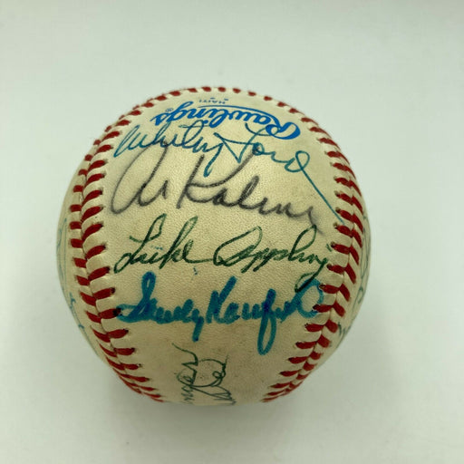 Mickey Mantle Joe Dimaggio Sandy Koufax Hank Aaron HOF Signed Baseball JSA COA