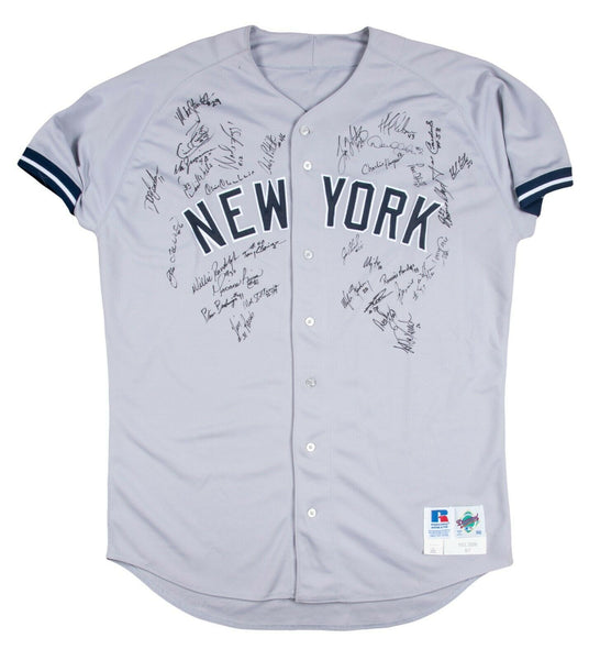 1997 Yankees Team Signed Game Used Jersey Derek Jeter Mariano Rivera Beckett COA