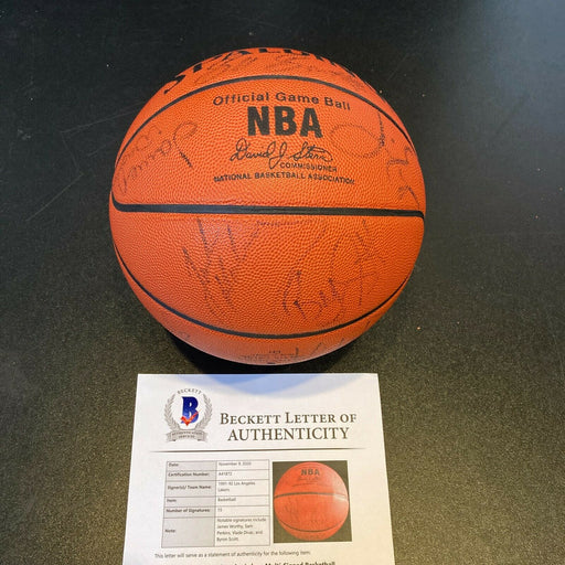 1991-92 Los Angeles Lakers Team Signed NBA Basketball With Beckett COA