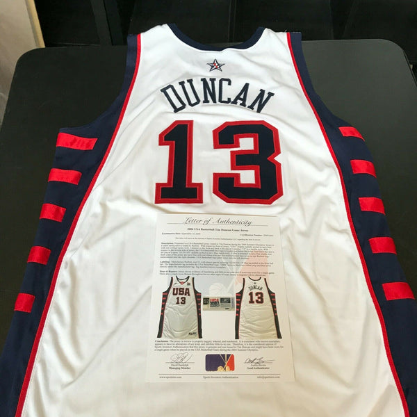2004 Tim Duncan Game Used Team USA Olympics Jersey With Sports Investors COA