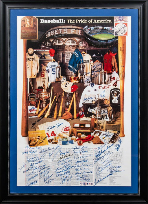 Mickey Mantle Joe Dimaggio Ted Williams HOF Signed 24x37 Poster 60 Sigs JSA COA