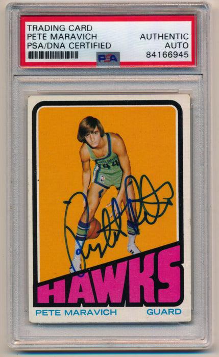 1972 Topps Pete Maravich #5 Signed Autographed Basketball Card PSA DNA Pop 3!
