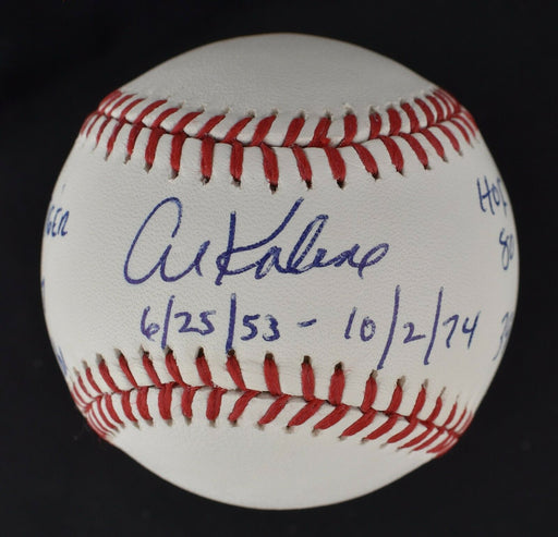 Beautiful Al Kaline Signed Heavily Inscribed STAT Baseball MLB Authenticated