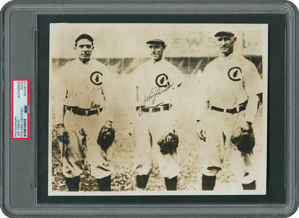 Joe Tinker & Johnny Evers Signed 1920's Photo Frank Chance Chicago Cubs PSA DNA