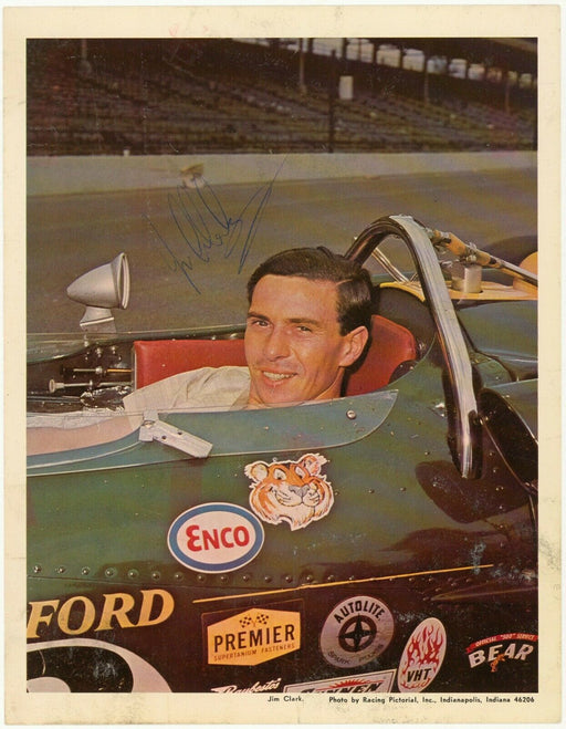 Jim Clark Signed Autographed Vintage 8x11 Racing Photo Beckett COA Dec. 1968
