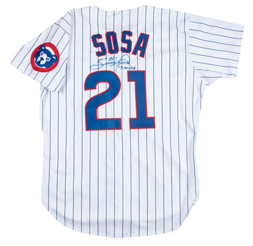 Sammy Sosa Signed Inscribed 1996 Chicago Cubs Game Issued Jersey With JSA COA
