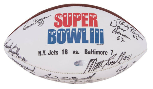 Beautiful 1969 New York Jets Super Bowl Champs Team Signed Football Steiner COA