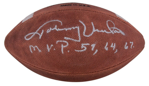 "Johnny Unitas ""M.V.P. 1959, 1964, 1967"" Signed Inscribed Wilson Football JSA COA"