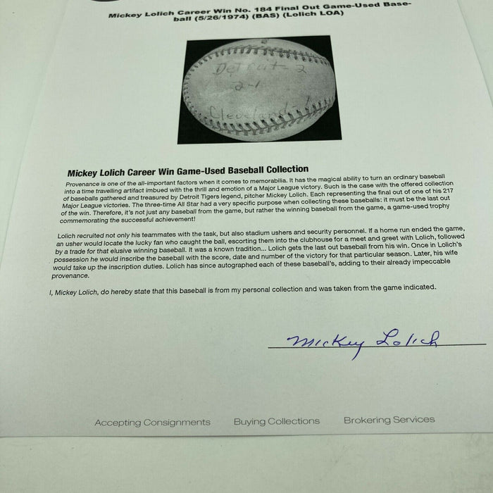 Mickey Lolich Signed Career Win No. 184 Final Out Game Used Baseball Beckett COA