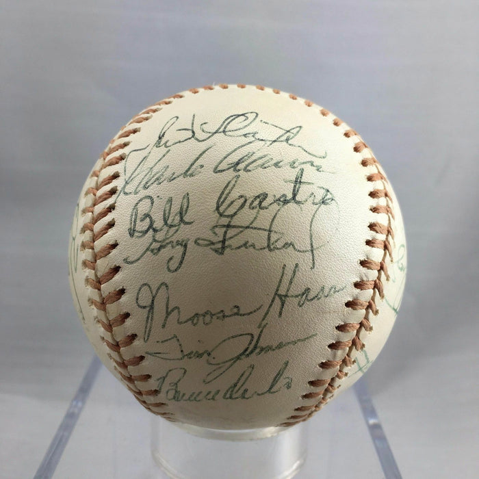 Beautiful 1976 Milwaukee Brewers Team Signed Baseball Hank Aaron Yount JSA COA