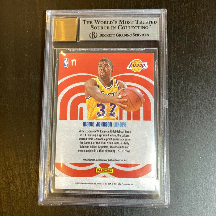 2009-10 Studio Heritage Signatures Magic Johnson Auto BGS 8.5 #/49