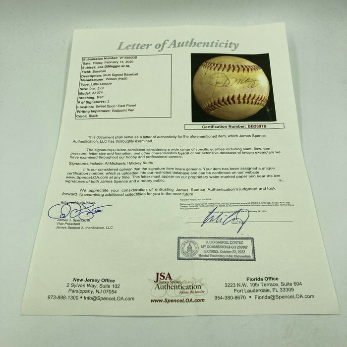 1970's Joe Dimaggio Signed Autographed Wilson Official League Baseball JSA COA