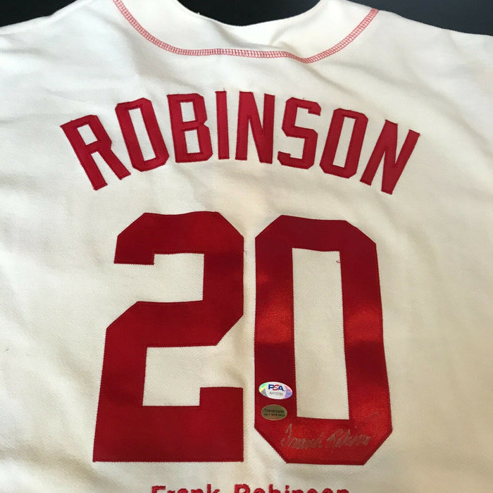 Frank Robinson Signed Cincinnati Reds Throwback Jersey With Stats PSA DNA COA